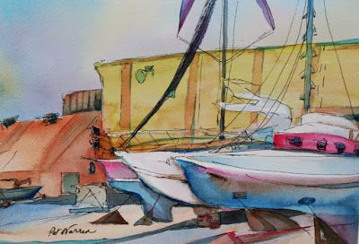 "Sailboats, Marina,Maritime,Watercolor Painting ""Thunderbolt Marina"" by Georgia Artist Pat Warren"