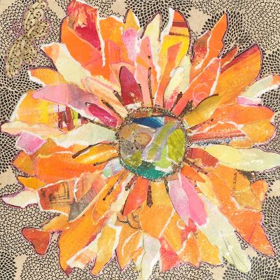 "Floral Art, Flower Painting,Textural Collage, Mixed Media ""PAPER SUNFLOWER"