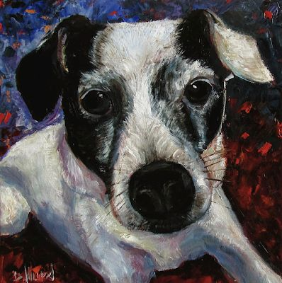 "Dog Painting, Dog Portrait, Fine Art Oil Painting ""Jill"" by Texas Artist Debra Hurd"