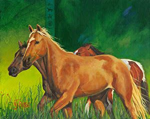 "Original Equine Painting ""Greener Pastures"" by Nancee Jean Busse, Painter of the American West"