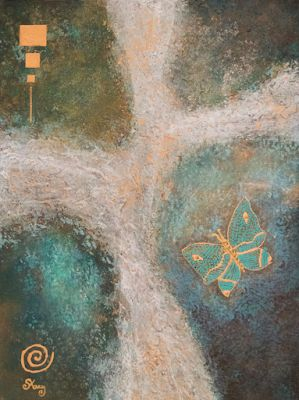 "Mixed Media Art, Abstract Art Painting ""Free Flight: Which Way?"" by Arizona Artist Pat Stacy"