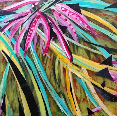 "Contemporary Abstract Mixed Media Painting ""Hawaiian Dreams"" by Santa Fe Contemporary Artist Sandra Duran Wilson"