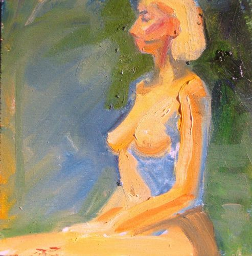 Seated Nude Blond Model - 41415 by Candy Barr
