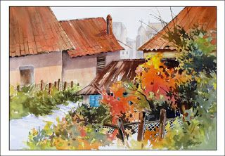 Old And New..Watercolor..Texas Artist..Rae Andrews