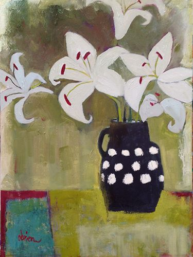 """Contemporary Bold Expressive Still Life Flower Painting""""White Lilies-Black Vase"""" by Santa Fe Artist Annie O'Brien Gonzales"""
