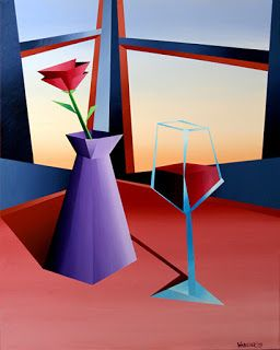 Mark Webster - Abstract Wine at Sunset 1 Geometric Acrylic Painting