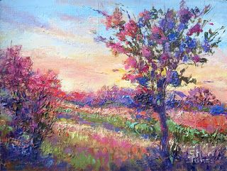 Rosy Glow, New Contemporary Landscape Painting by Sheri Jones