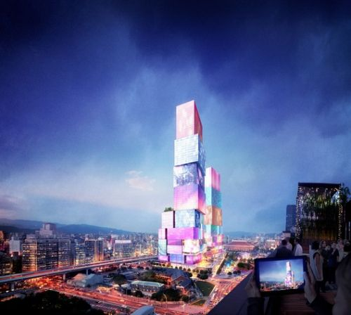 MVRDV designs Tall Twin Towers for Taipei with Interactive Facades
