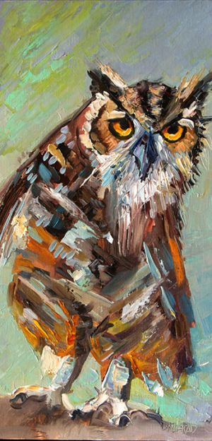 Artoutwest Owl Bird Animal Wildlife Contemporary Original Oil Painting by Western and Wildlife Artist Diane Whitehead