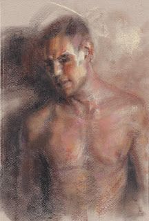 Nude male portrait drawing on paper