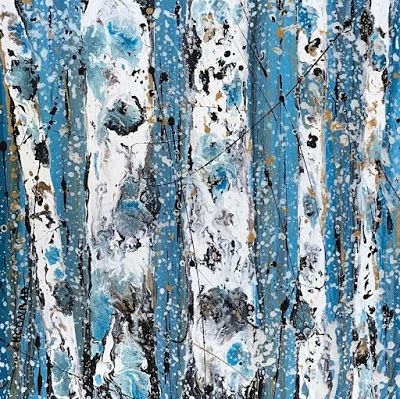 "Aspen Tree Painting, Abstract Aspens,Snow, Landscape ""Winter Flurries "" by Colorado Contemporary Landscape Artist Kimberly Conrad"