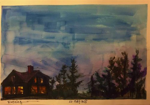 "Day 231 ""Evening"" 9 x 12 watercolor & ink"