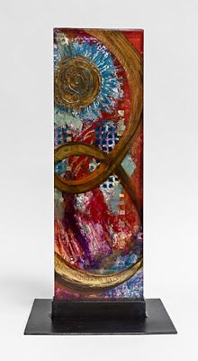 "Fine Art Free Standing Vertical Sculpture, Resin, Steel, Cast Acrylic ""Follow the Light"" by Santa Fe Artist Sandra Duran Wilson"