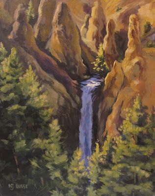 "Original Yellowstone Landscape Painting ""Tower Falls at Yellowstone"" by Colorado Artist Nancee Jean Busse, Painter of the American West"