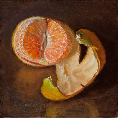 Mandarin orange peeled fruit still life oil painting small daily painting a day