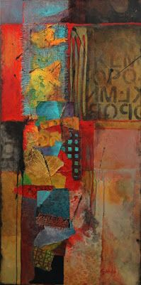 """Abstract, mixed media collage, """"Red Beneath"""" © Carol Nelson Fine Art"""