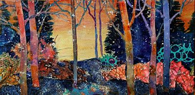 "SUMMER SALE-Mixed media abstract tree collage landscape, ""Snowy Dawn"" by Colorado Mixed Media Artist Carol Nelson Fine Art"