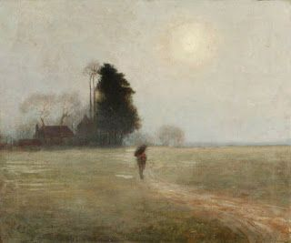 Benjamin Haughton, Man Crossing a Field at Dusk