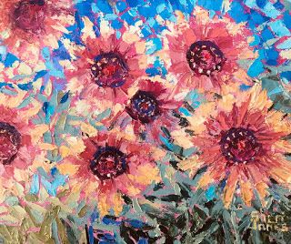 Contemporary Impressionistic Floral Original Palette Knife Oil Painting by Sheri Jones
