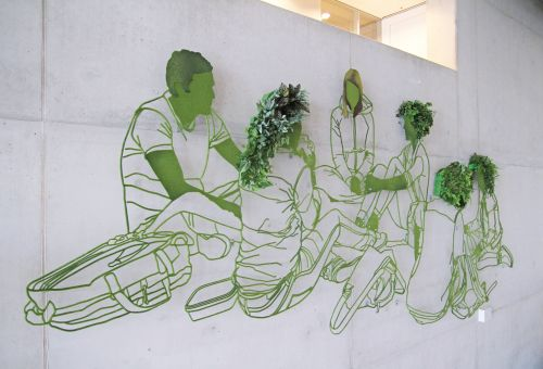 A Large-Scale Flocked Steel Mural Accented With Live Foliage by Frank Plant