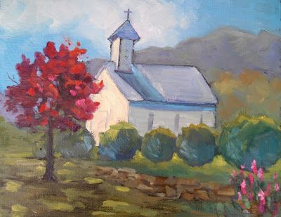 Mountain Church Painting, Small Oil Painting, Church Landscape Art, Farmhouse Wall Decor, Daily Painting