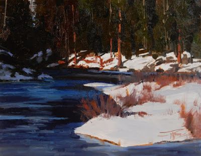 """""""Sunny Side"""" Wenatchee River winter painting by Robin Weiss"""