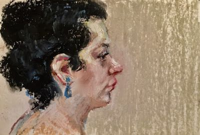 A Model in Profile - oil pastel drawing