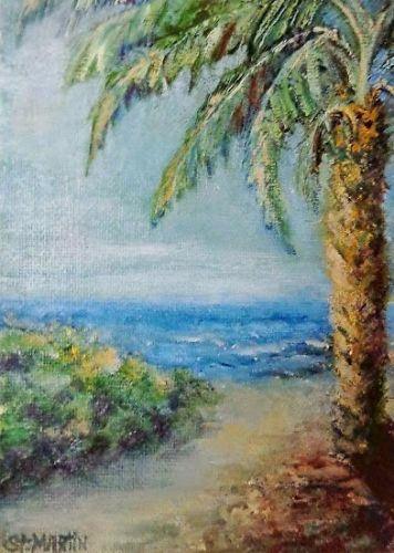 "Impressionism Seascape,Coastal Art Painting ""Unexpected Pathway"" by Florida Impressionism Artist Annie St Martin"