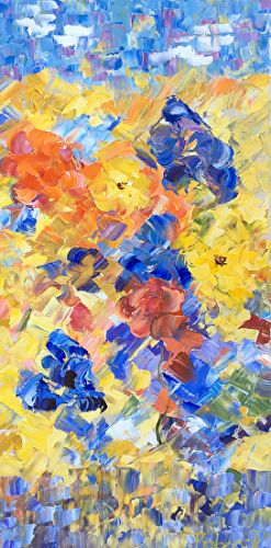 "Palette Knife Abstract Flower Painting ""Blooms of Summer"" by Colorado Impressionist Judith Babcock"