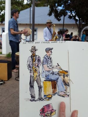 Urban Sketching at Farmers Market at Old Poway Park