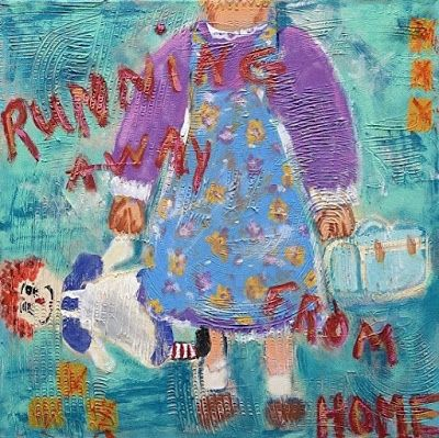 "Summer Sale-Abstract ,Raggedy Ann, Folk Art, Narrative Art Painting ""Running Away from Home"" Narrative Art by Santa Fe Artist Judi Goolsby"