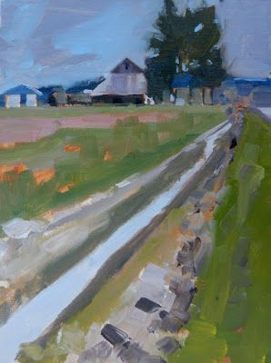 """Skagit Quick Sketch"" Plein air, landscape painting by Robin Weiss"