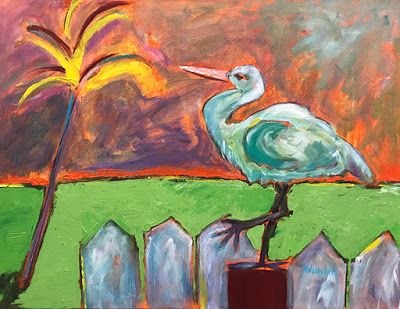 "Contemporary Bird Painting, Expressionist Key West Landscape, Palm Tree ""Sunset in Key West"" by Oklahoma Artist Nancy Junkin"