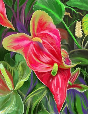 "Botanical Art, Nature, Still Life, Contemporary Digital Art ""Anthuriums"" by Colorado Artist Nancee Jean Busse"