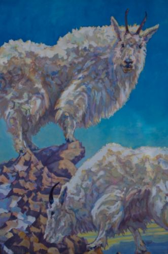 """Mountain Goat Art Painting """"Lewis and Clark"""" by Patricia A. Griffin, Represented by Gallery Wild, Jackson, Wyoming"""