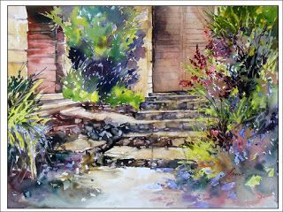 Up The Stairs To The Left..Watercolor..Texas Artist..Rae Andrews