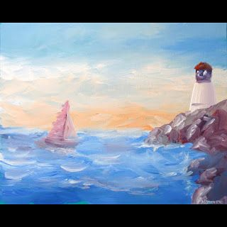 Mark Webster - Impressionist Sailboat at the Harbor near the Lighthouse Acrylic Painting