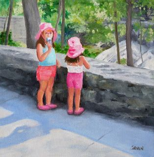 Little Tourists, 8x8 Original Oil Painting on Gallery-Wrapped Canvas
