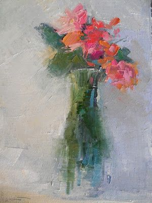 Abstract Flower Bouquet, Contemporary Home Wall Decor, Daily Painting, Small Oil Painting, 8x10