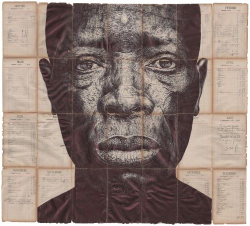 Monumental Ballpoint Pen Portraits Are Rendered on Vintage Collateral by Artist Mark Powell