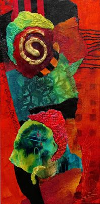 "SUMMER SALE-Mixed Media Collage, ""Mardi Gras"" by Colorado Mixed Media Artist Carol Nelson"