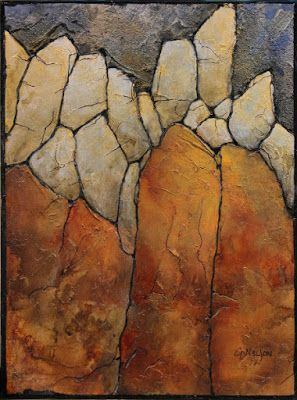 "Mixed media geologic abstract, ""Marble Palisade II"" © Carol Nelson Fine Art"