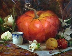 Pumpkin and Roses by artist Pat Meyer
