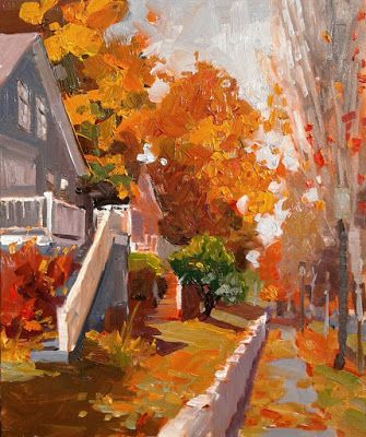 """Port Gamble Fall"" plein air, landscape painting by Robin Weiss"
