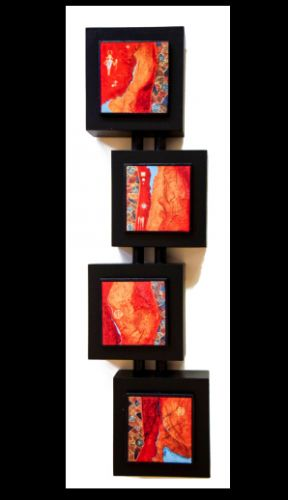 """Quadruvium LXXXVT-3"" Four Piece Mixed Media Southwest Art Painting by Artist Pat Stacy"