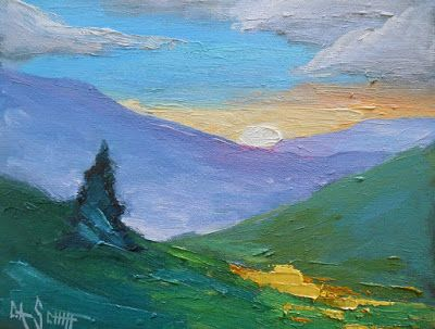 Blue Ridge Mountain Painting, Small Oil Painting,Mountain Landscape, Daily Painting, Colorful Art, Rustic Wall Decor, 8x10x1.5