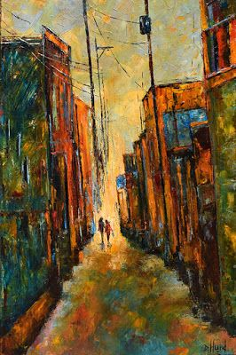 "Alley Cityscape Street Scene Palette Knife Oil Painting "" Blue Bag"" by Texas Artist Debra Hurd"
