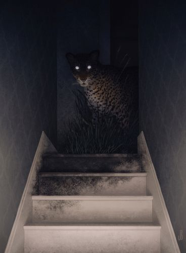 Shadowy Animals Infiltrate Desolate Spaces in Illustrations by Jenna Barton