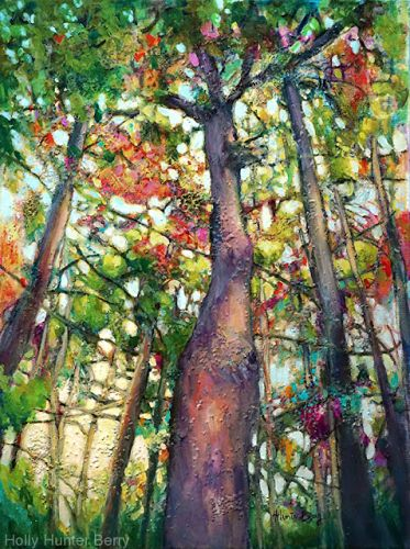 """Colorful Contemporary Landscape Painting, Abstract Landscape, Tall Trees """"Woven Together"""" by Passionate Purposeful Painter Holly Hunter Berry"""