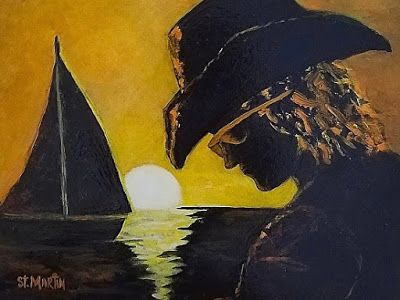 Contemporary Portrait Painting, Sailboat, Sunset, Ocean